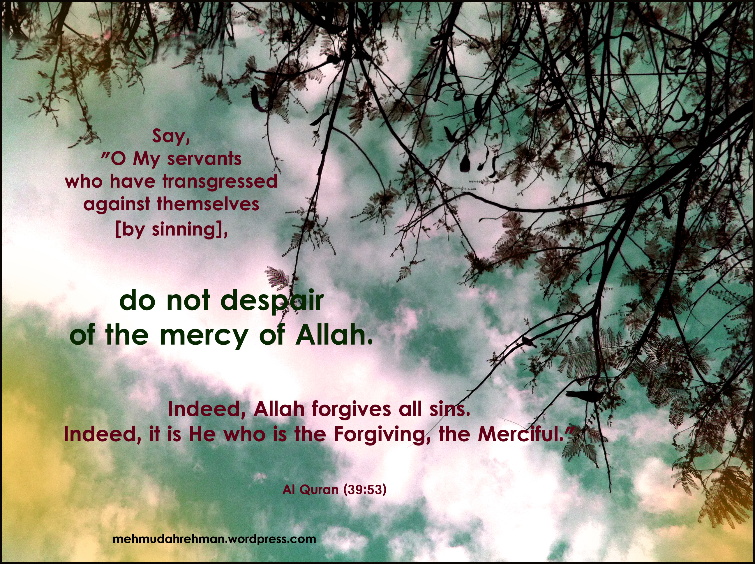 Do not despair of the mercy of Allah.
