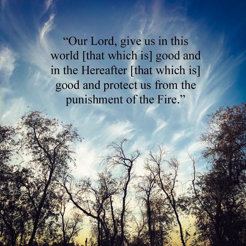 رَبَّنَا آتِنَا فِىْ الدُّنْيَا حَسَنَةً وَفِىْ الآخِرَةِ حَسَنَةً وَّقِنَا عَذَابَ النَّارِ اے ہمارے رب! ہمیں دنیا میں بھی بھلائی دے اور آخرت میں بھی بھلائی عطا فرما اور ہمیں آگ کے عذاب سے بچا۔ Our Lord! Give us in this world [that which is] good and in the Hereafter [that which is] good and protect us from the punishment of the Fire.(Al-Baqarah:201)